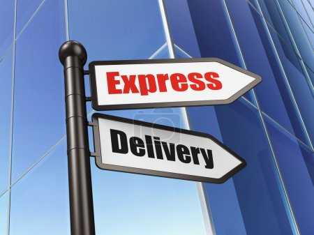 Foto de Concepto de Finanzas: firma Express Delivery on Building background, 3d render - Imagen libre de derechos