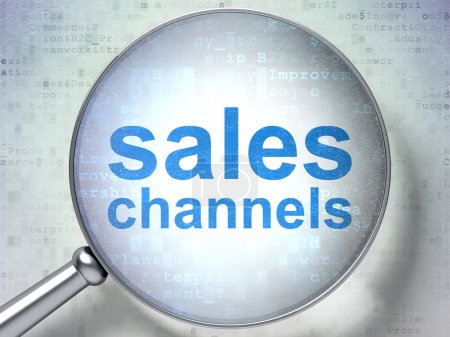 Marketing concept: Sales Channels with optical glass