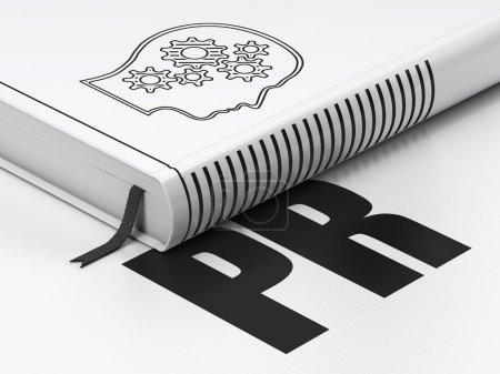 Photo pour Concept marketing : livre fermé avec Black Head With Gears icône et texte PR sur le sol, fond blanc, rendu 3d - image libre de droit