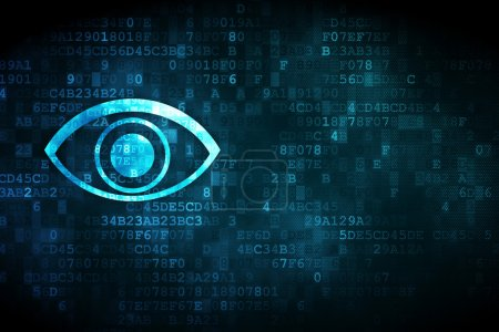 """Photo pour Concept de sécurité : icône """"oeil"""" pixélisé sur fond numérique, vide fond de carte, texte, publicité, rendu 3d - image libre de droit"""