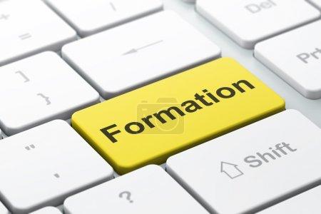 Photo pour Concept éducatif : clavier d'ordinateur avec formation de mot, focus sélectionné sur le fond du bouton Entrée, rendu 3d - image libre de droit