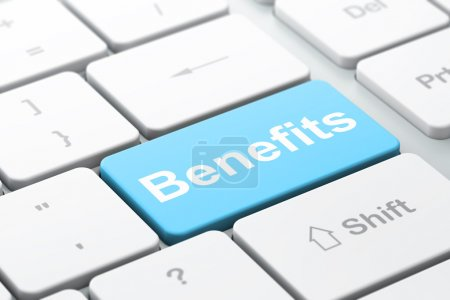 Finance concept: Benefits on computer keyboard background