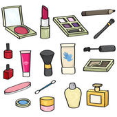 Set of 18 cartoon cosmetics for use in your designs Set includes: blusher lipstick eye shadow mascara wand makeup brushes eye liner pencil nail varnish lip gloss hand cream perfume baby bud and nail file This file is vector eps10