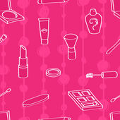 Seamless background tile with outlined cartoon style cosmetics on a pink background