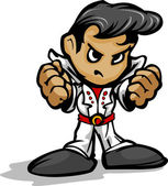 Rock Star Mascot with Elvis Hair and White Jump Suit Cartoon Vector Image