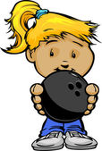 Cartoon Vector Illustration of a Cute Kid Girl with Hands holding Bowling Ball