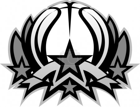 Basketball Ball Vector Graphic Template with Stars