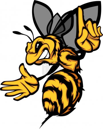 Cartoon Vector Image of a Hornet or Bee with Hands...