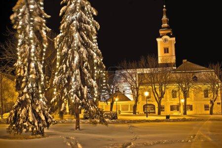 Idylic winter cityscape evening in snow