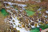 Plitvice lakes cascades aerial view