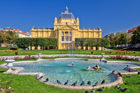 Colorful Zagreb park fountain scene , Croatia