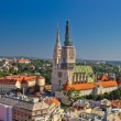 Zagreb cathedral panoramic aerial view, capital of Croatia