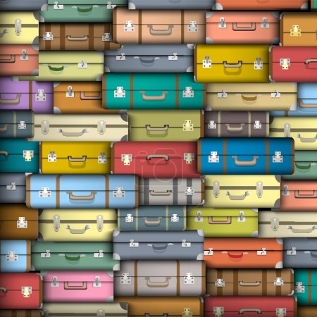 Vector background of colored suitcases