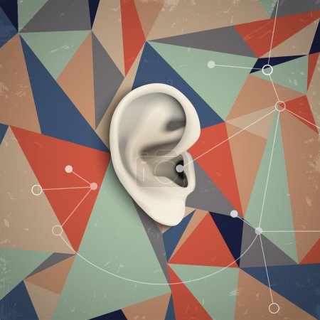 Illustration for Futuristic grunge background with ear. Vector illustration - Royalty Free Image