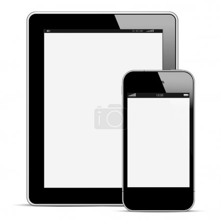Modern digital tablet PC with mobile smartphone