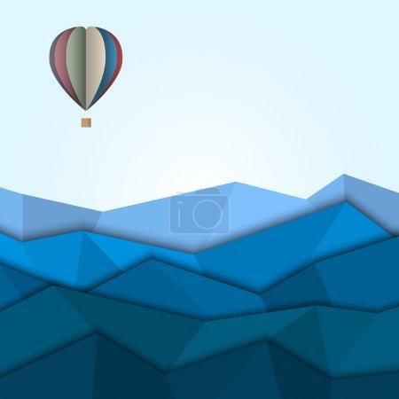 Illustration pour Ballon à air chaud et des montagnes de papier. créative vecteur eps 10 - image libre de droit