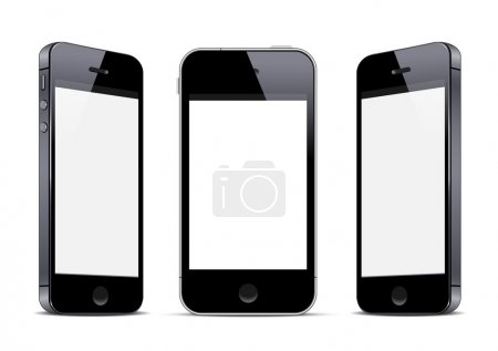 Illustration for Three black smartphones. Vector EPS10 - Royalty Free Image