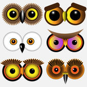 Eyes of owlsVector set