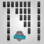Domino black set of 28 pieces Vector EPS10