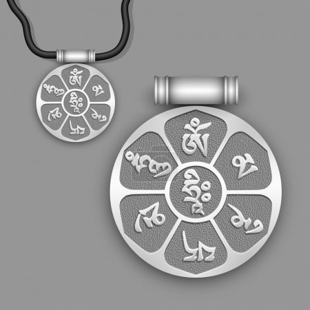 "Mantra ""Om Mani Padme Hum"" on silver pendant"