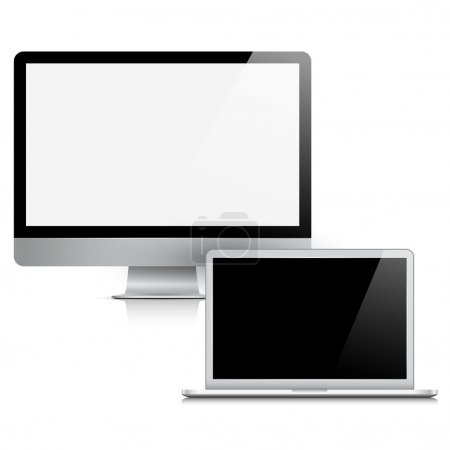 Modern realistic computer display and laptop