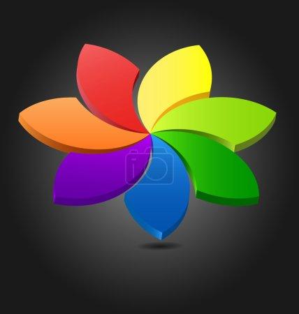 3D flower chromatic wheel