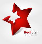 Originaly designed red star 3D vector logo/logotype