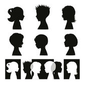 Children Isolated silhouettes and banner