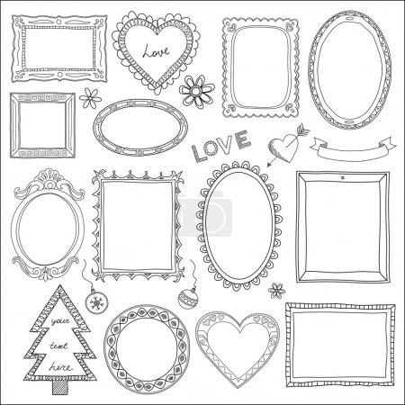 Set of doodle frames and elements