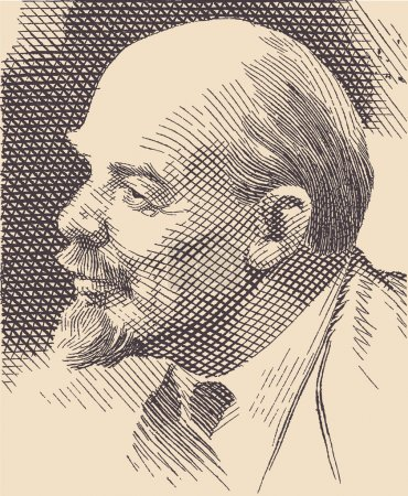 Portrait of Lenin, based on the picture on a post stamp.