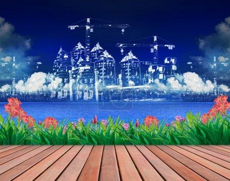 beaux paysages de construction de bâtiments
