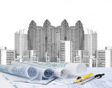 Photo for Blue print and architect working - Royalty Free Image