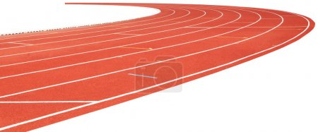 Photo for Red running track isolated on white use as multipurpose background - Royalty Free Image
