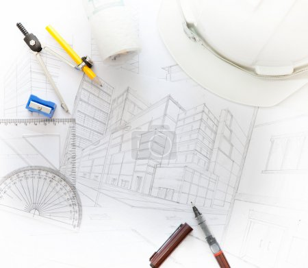 Working table of architect with related equipment