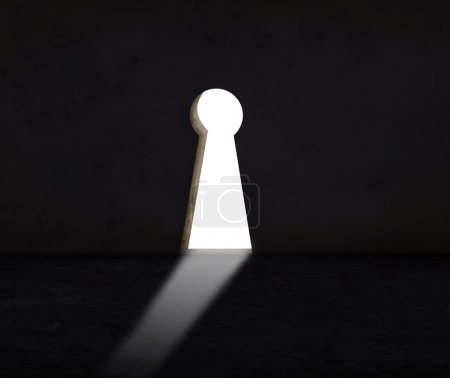 Key hole wall with light use for abstract of solution crisis and alternative decision