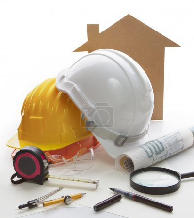 Home model ,architect and engineering writing tool and stationary equipment use for construction businees theme