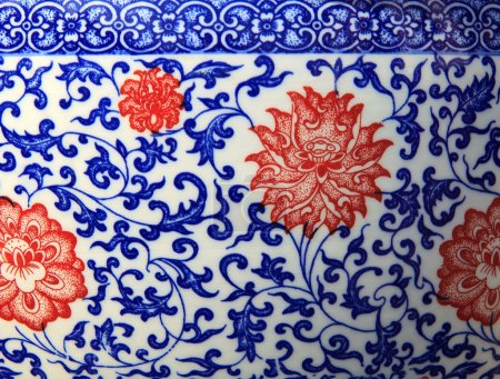 old chinese flowers pattern style painting on the ceramic bowl u