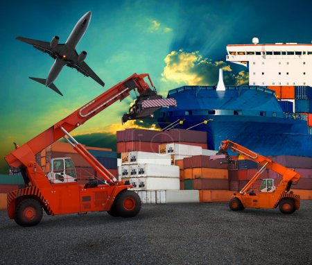 Ship yard  logistic by land transport and air plane use for tran