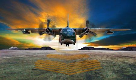 Photo pour Avion militaire atterrissant sur les pistes de l'armée de l'air contre un beau ciel crépusculaire - image libre de droit
