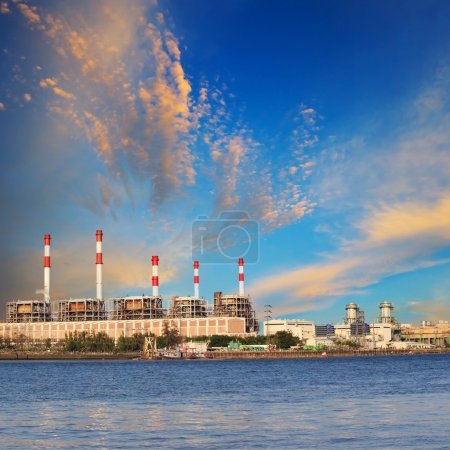 Photo for Thermal Power Plant beside river side location use for industry and power energy producing and multipipurpose topic - Royalty Free Image