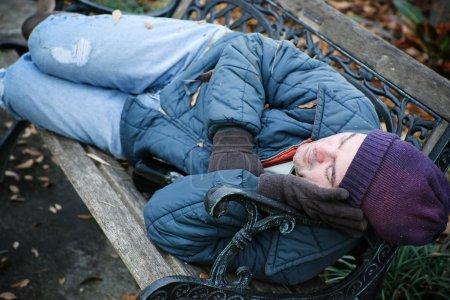 Homeless on Park Bench