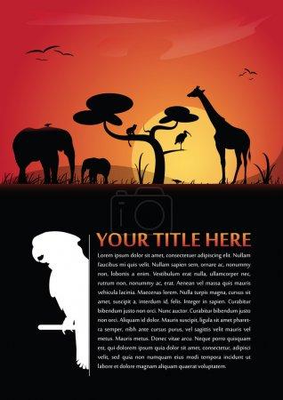 Illustration pour Fond abstrait vectoriel pour affiche ou brochure avec silhouettes d'animaux africains et lieu de texte - image libre de droit