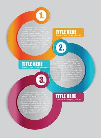Illustration pour Fond de couleur abstrait vector avec schéma de trois étapes pour la brochure ou dépliant - image libre de droit