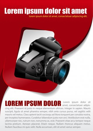 Vector photographic background with the camera in the rectangle