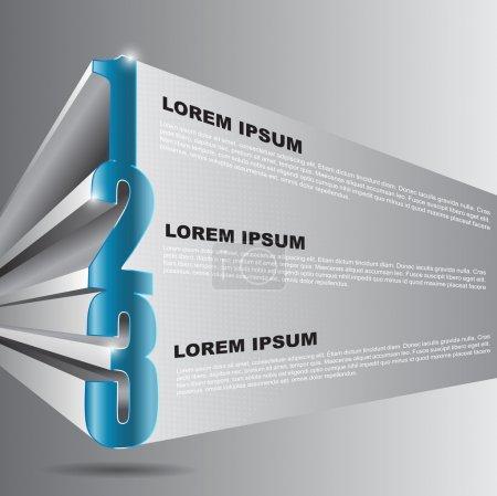 Illustration pour Vecteur 3d fond avec 1 2 3 étapes et place pour le contenu de texte. peut être utilisé pour obtenir un dépliant, affiche, prospectus et autres imprimés. - image libre de droit