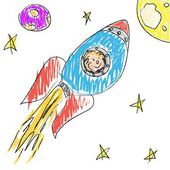 Kosmická loď křída doodle