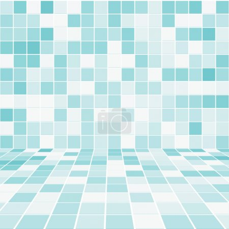 Illustration for Interior Room with Mosaic Tiled Wall Vector - Royalty Free Image