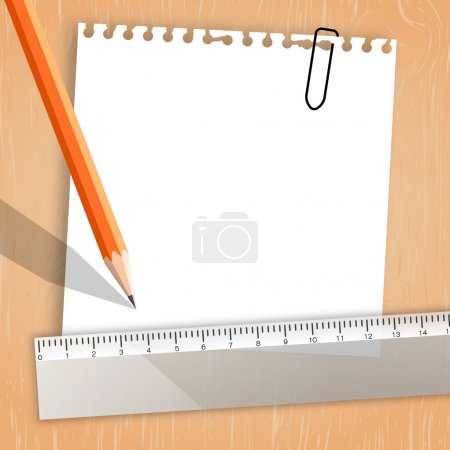 Note paper with pencil, ruler background