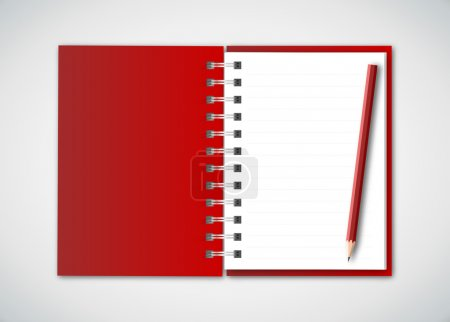 Red Notebook with Pencil