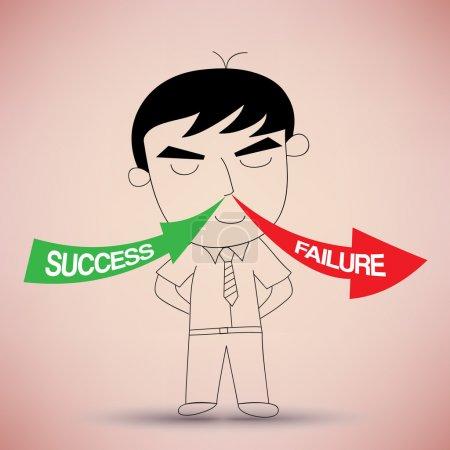 Illustration pour Inspirez le succès et expirez l'échec Concept d'idée d'entreprise - image libre de droit